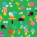 Snails & mushrooms pattern Stock Photo