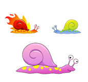 Snails pack. Cartoon Snails mini pack. Contain Three colourful isolated amphibian Stock Photos