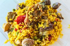 Snails Paella Detail Eating Healthy Europe stock image