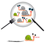 Snails on plate on white background Royalty Free Stock Images