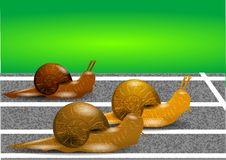 Snails on a racetrack Royalty Free Stock Photography