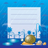 Snails in the rain card Stock Photos