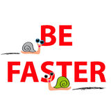 Snails with text on white background Royalty Free Stock Image