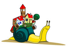 Snails with village illustration Stock Photo
