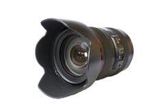 Snak professionele die lens met kap op witte achtergrond wordt geïsoleerd Stock Afbeelding