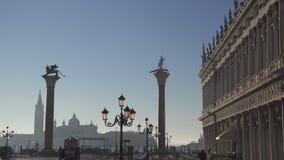 Snak schot van St Tekensvierkant in Venetië stock video
