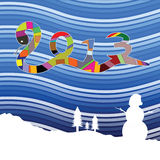 Snak sign for 2013 on winter. Background illustration stock illustration