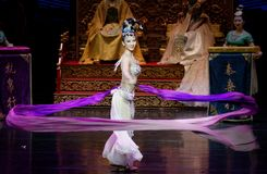 Snak sleeved hofdans de 8-tweede handeling: een feest in de van het paleis-heldendicht de Zijdeprinses ` dansdrama ` royalty-vrije stock foto