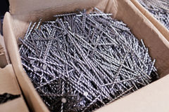 Snak verdraaide spijkers in de doos Stock Foto