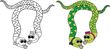 Snake. Couple in colours and black and white.vector image Stock Photography