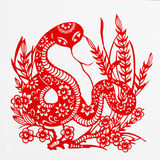 Snake. This paper-cut shows the snake, one of the Chinese Zodiac Stock Photography