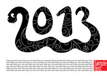 Snake 2013. Decorative card with Snake the symbol 2013 year vector illustration