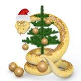 Snake 2013. Snake in the Santa hat dresses up Christmas tree Stock Images