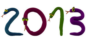 Snake 2013 colorful. Smiling snake made from clay to word 2013 royalty free illustration