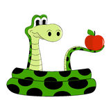 Snake. Sly snake with an apple Stock Images