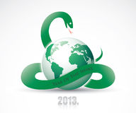 Snake around planet Earth. Vector illustration of green snake and earth Royalty Free Illustration