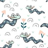 Snake baby seamless pattern. Worm scandinavian cute print. Cool african animal illustration for nursery t-shirt, kids apparel, invitation cover, simple child vector illustration