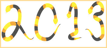 Snake 2013 background. Year of the snake design - data 2013 made from black yellow and orange snakes on whote background - illustration stock illustration