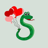 Snake with balloons Stock Photography