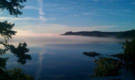 Snake bay fog. Fog in Sechelt  inlet calm water Stock Image