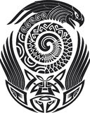 Snake-bird tattoo pattern. Tribal tattoo pattern. Fit for a shoulder. Vector illustration Royalty Free Stock Photography