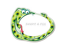 Snake biting an egg cute cartoon Royalty Free Stock Images
