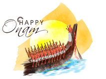 Snake boat with participants for Happy Onam. Royalty Free Stock Image