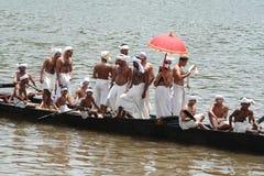 A Snake Boat race team do rehearsal. On July 31, 2010 in Aranmula, Kerala, India.Aranmula Boat Race is the oldest river boat fiesta in Kerala,state Stock Image