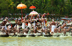 Snake  Boat races of Kerala. People in traditional dress rowing the snake boats in Aranmula boat race in Kerala, India Royalty Free Stock Photography