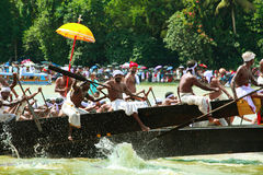 Snake  Boat races of Kerala. People in traditional dress rowing the snake boats in Aranmula boat race in Kerala, India Royalty Free Stock Image