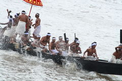 Snake Boat Racing. People in traditional dress actively participating in Boat race of Aranmula, Kerala, India Stock Photography