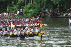 Snake Boat Racing. Participants of Nehru trophy boat race competing to reach the finishing point Stock Photography