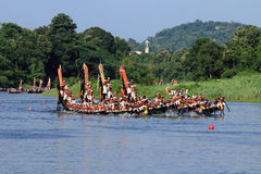 Snake boat team. Oarsmen of a team wearing traditional dress participate at the Aranmula Boat race onAugust 31, 2015 in Aranmula, Kerala, India Stock Images