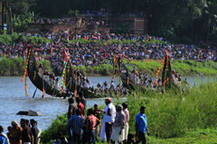 Snake boat team. Oarsmen of a team wearing traditional dress participate at the Aranmula Boat race onAugust 31, 2015 in Aranmula, Kerala, India Stock Photography