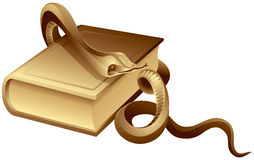 Snake on the Book. Allegoric symbol of the science, medicine, justice, Mystical magic and esoteric in vector Stock Photo