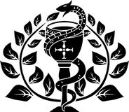 Snake on a bowl with laurel wreath Stock Photos