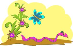 Snake and Butterfly in the Sun Royalty Free Stock Photos