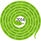 Snake calendar for 2014. 2014 calendar spiral-shaped snake green on white background Stock Image
