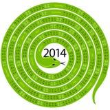 Snake calendar for 2014 Stock Image