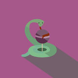 Snake with candy, flat vector illustration. Snake with candy in retro style, flat vector illustration Royalty Free Stock Images