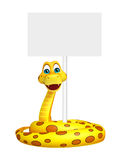 Snake cartoon character with board Stock Image