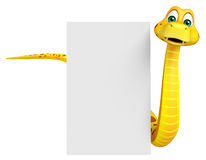 Snake cartoon character with board Royalty Free Stock Images