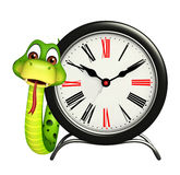 Snake cartoon character with clock Stock Photography