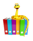 Snake cartoon character with files Royalty Free Stock Photography