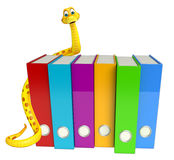 Snake cartoon character with files Stock Photography