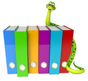 Snake cartoon character with files Royalty Free Stock Photo