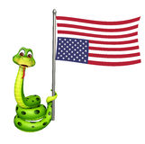 Snake cartoon character with flag. 3d rendered illustration of Snake cartoon character with flag Royalty Free Stock Photos