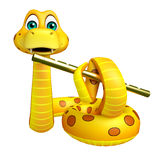 Snake cartoon character with flute Stock Photo
