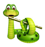 Snake cartoon character with flute Stock Images