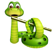 Snake cartoon character with flute Royalty Free Stock Photo